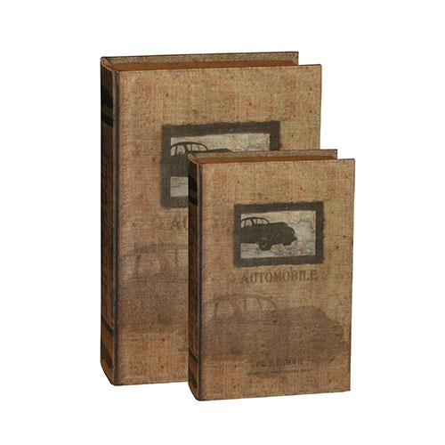 Conjunto Book Box 2 Peças Seda Auto Mobile Oldway - 33x22 cm