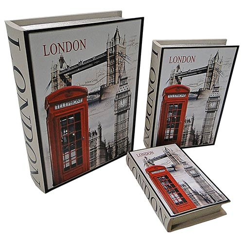 Conjunto Book Box 3 Peças Cabine London Fullway - 35x26 cm