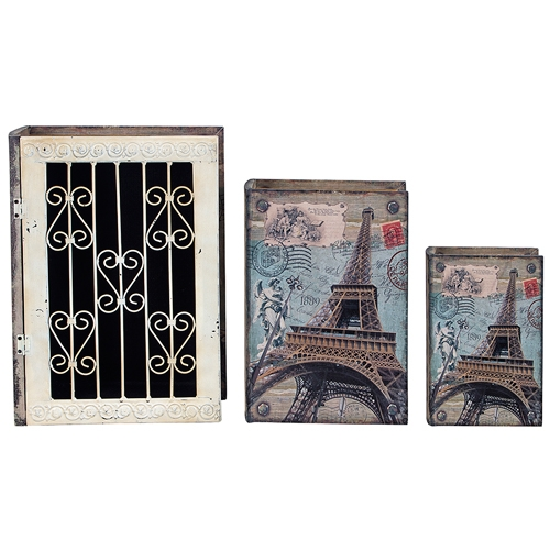 Conjunto Book Box - 3 Peças - Grande Iron Paris Oldway - 35x26x9cm