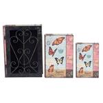 Conjunto Book Box - 3 Peças - Iron Borboletas Oldway