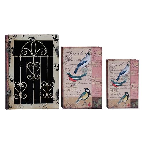 Conjunto Book Box - 3 Peças - Iron Pássaros Oldway - 35x26 cm