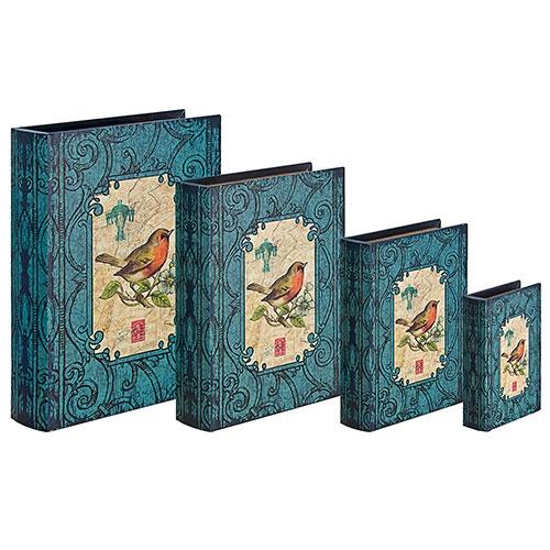 Conjunto Book Box 4 Peças Arabesco com Pássaro Oldway - 37x27 cm