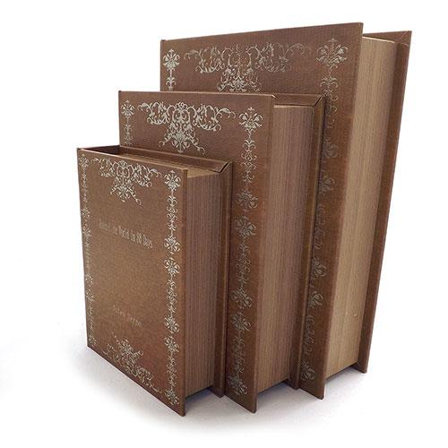 Conjunto Book Box Around The World In 80 Days - 3 Peças - Em Madeira - 30x24 cm