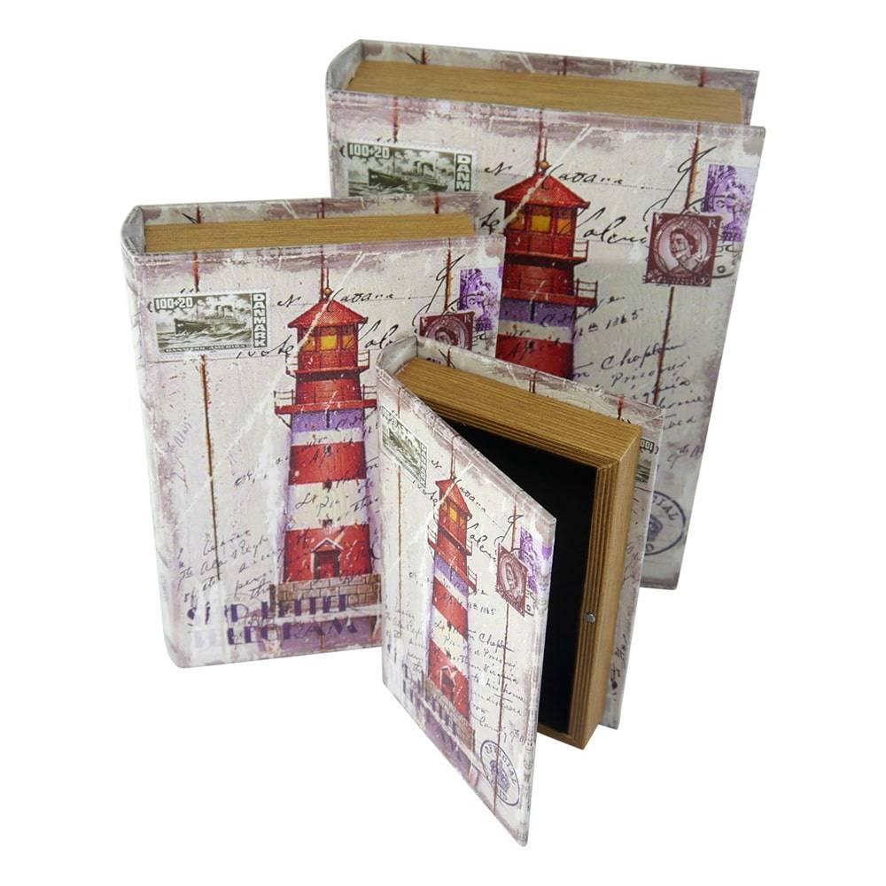 Conjunto Book Box Cartão Postal - 3 Peças - Colorido em Madeira - 30x21 cm
