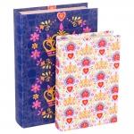 Conjunto Book Box Coroa Realeza - 2 Peças - Coloridas em Madeira Revestidas em Tecido - 30x20 cm