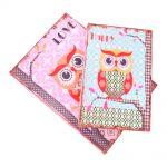 Conjunto Book Box Corujinhas Happy/Love - 2 Peças - Coloridas em MDF - 30x22 cm