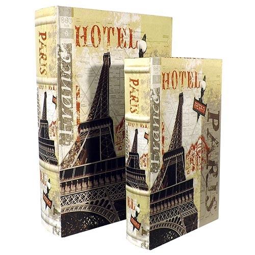 Conjunto Book Box Eiffel Hotel Seda Oldway - Madeira - 33x22 cm