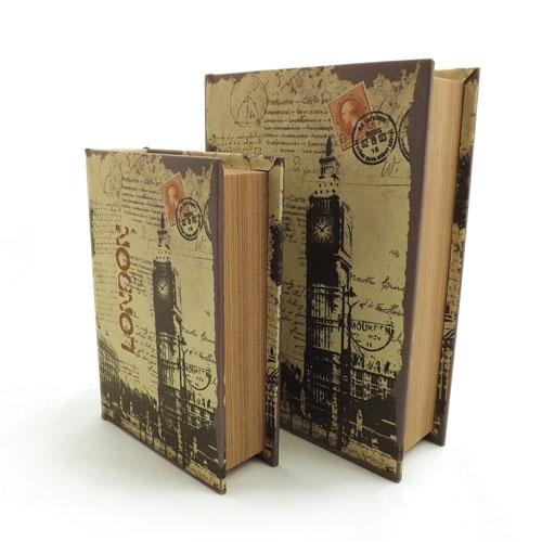 Conjunto Book Box London Bigben - Caixa Livro / Porta objetos - Madeira - 24x19 cm