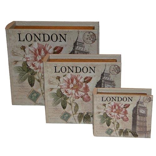 Conjunto Book Box London Flor Oldway - 3 peças - 23x20 cm
