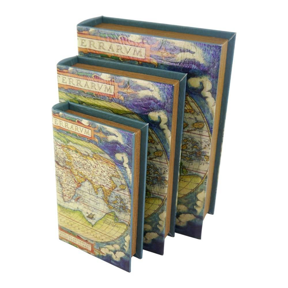 Conjunto Book Box Mapa Mundi - 3 Peças - Colorido em Madeira - 30x21 cm