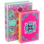 Conjunto Book Boxes Amor de Pixel Flor - 2 Peças - Coloridos em Madeira Revestida em Tecido - 30x20 cm