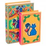 Conjunto Book Box Amor de Pixel Gato - 2 Peças - Coloridos em Madeira Revestido em Tecido - 27x19 cm