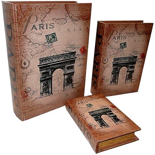 Conjunto Book Box Paris Oldway - 3 peças - 35x26 cm