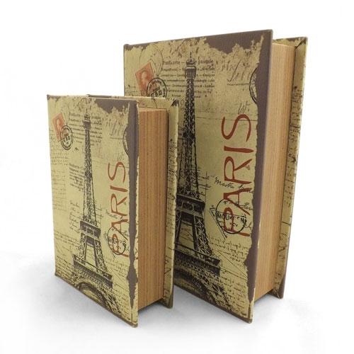 Conjunto Book Box Paris Torre Eiffel - Caixa Livro / Porta objetos - Madeira - 29x19cm