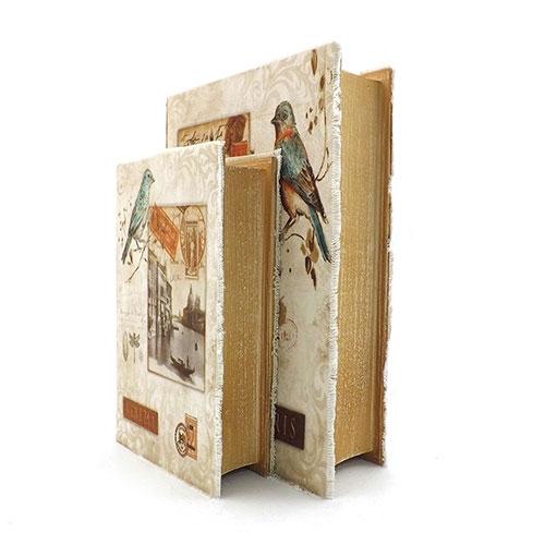 Conjunto Book Box Paris Veneza  Oldway - Em Madeira / Tecido - 18x27 cm