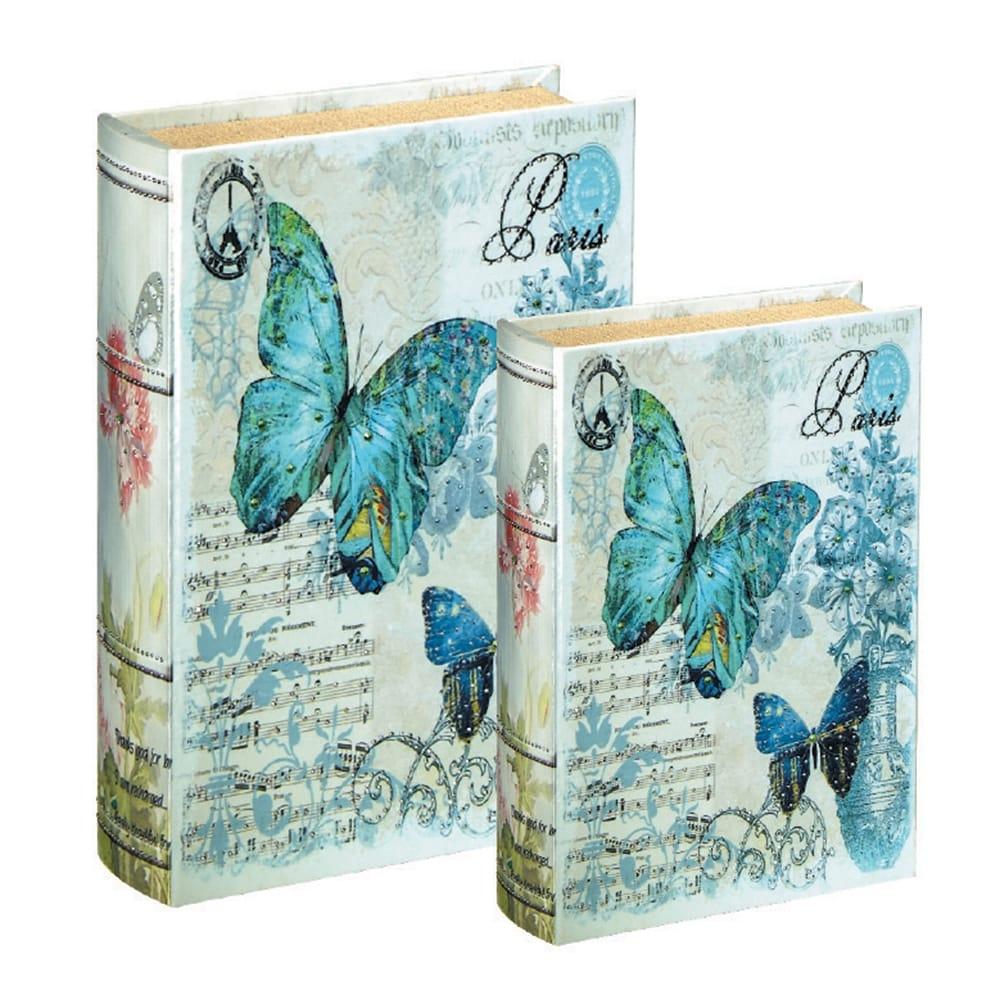 Conjunto Book Boxes - 2 Peças - Borboletas Fundo Branco em MDF - 30x21,5 cm