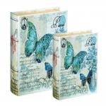 Conjunto Book Box - 2 Peças - Borboletas Fundo Branco em MDF