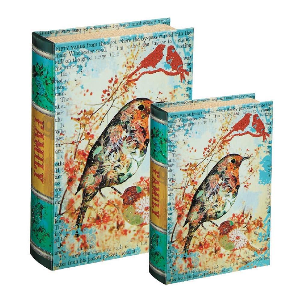 Conjunto Book Boxes - 2 Peças - Classic Bird Multicolorido em MDF - 30x21,5 cm