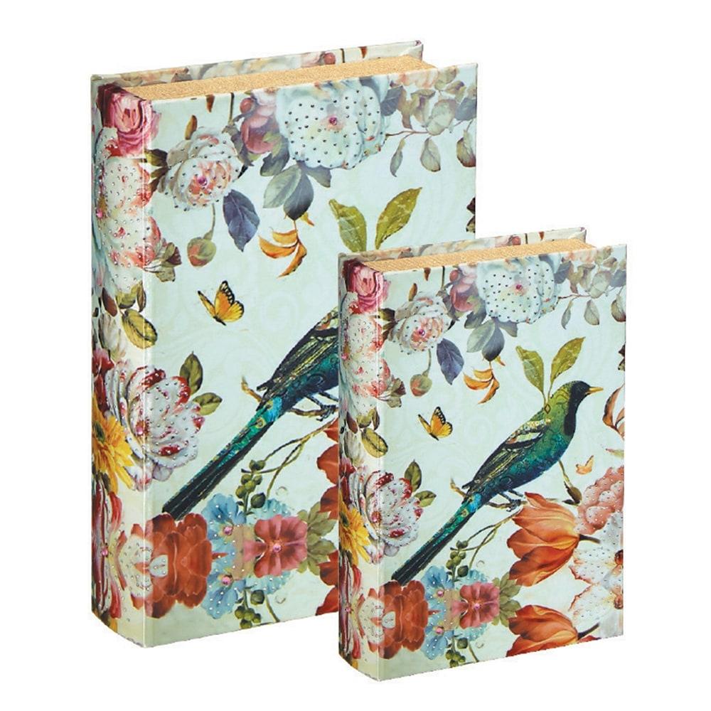 Conjunto Book Boxes - 2 Peças - Flores e Pássaro em MDF - 30x21,5 cm