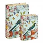 Conjunto Book Boxes - 2 Peças - Flores e Pássaro em MDF