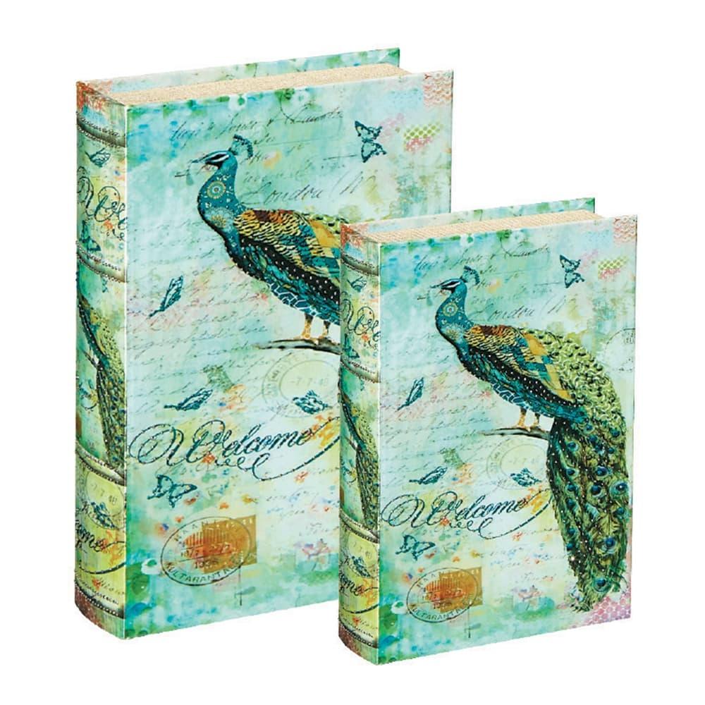 Conjunto Book Boxes - 2 Peças - Peacock Verde em MDF - 30x21,5 cm