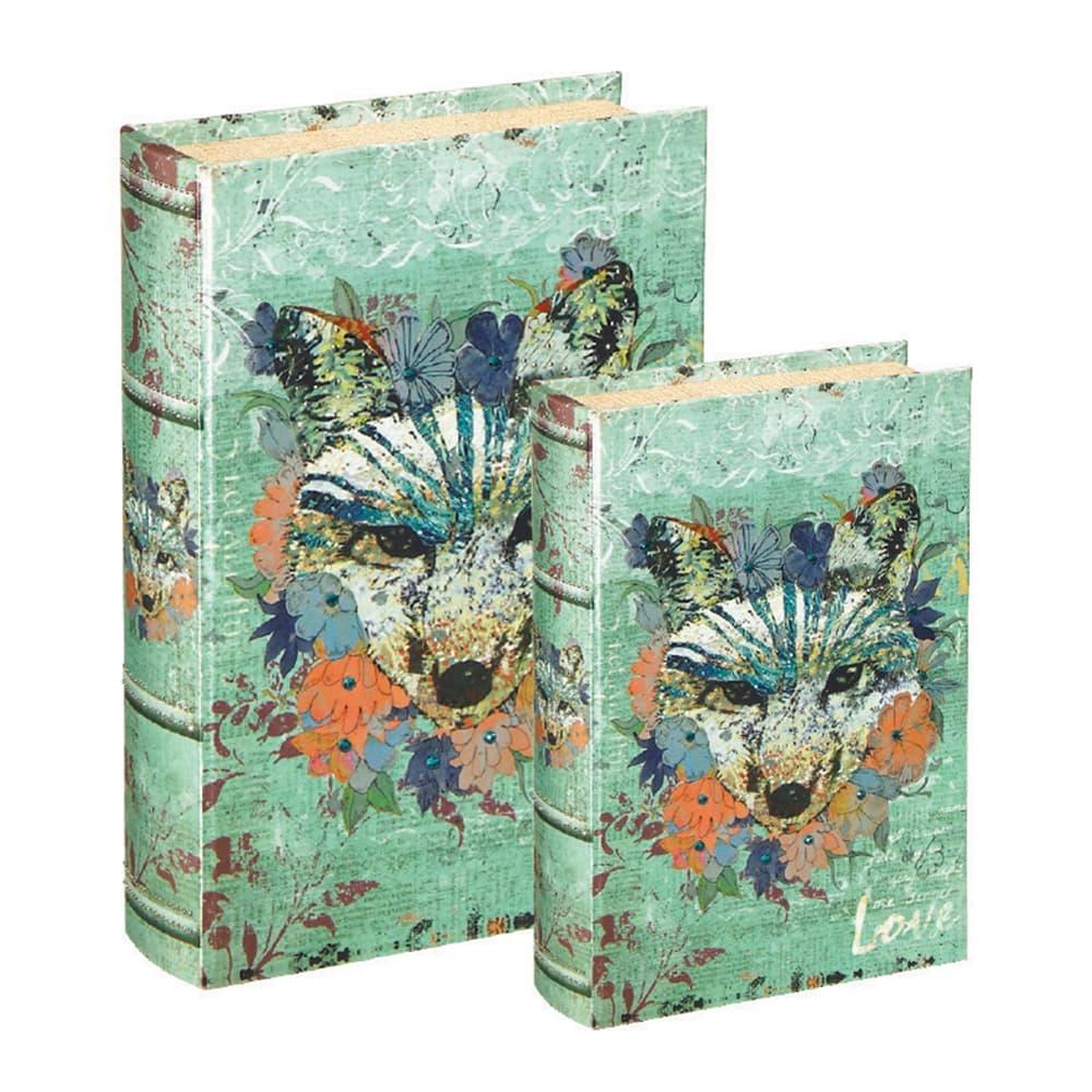 Conjunto Book Boxes - 2 Peças - Raposa Verde em MDF - 30x21,5 cm