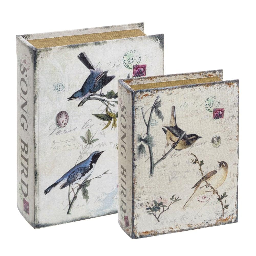 Conjunto Book Boxes - 2 Peças - The Nest Sépia em MDF - 30x21,5 cm