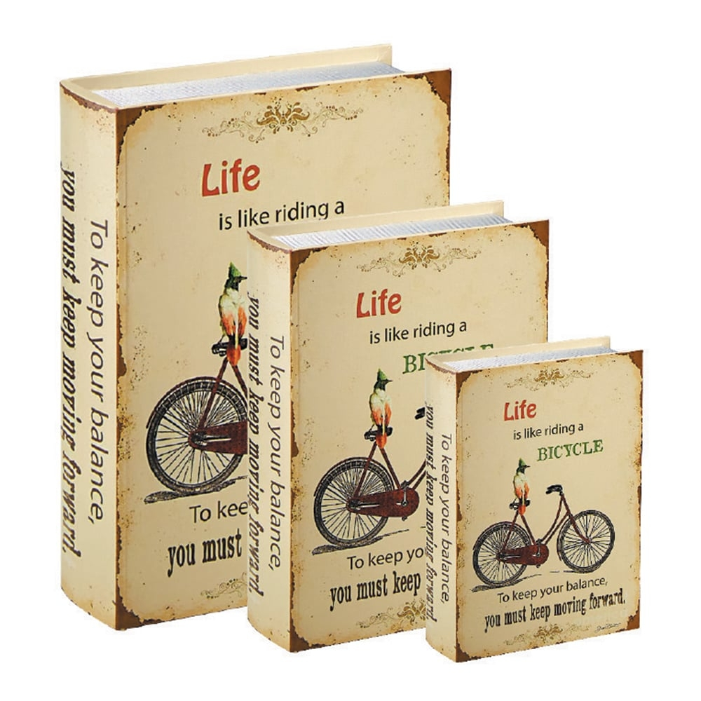 Conjunto Book Boxes - 3 Peças - Bicycle Bege em MDF - 30x21,5 cm