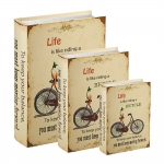 Conjunto Book Boxes - 3 Peças - Bicycle Bege em MDF