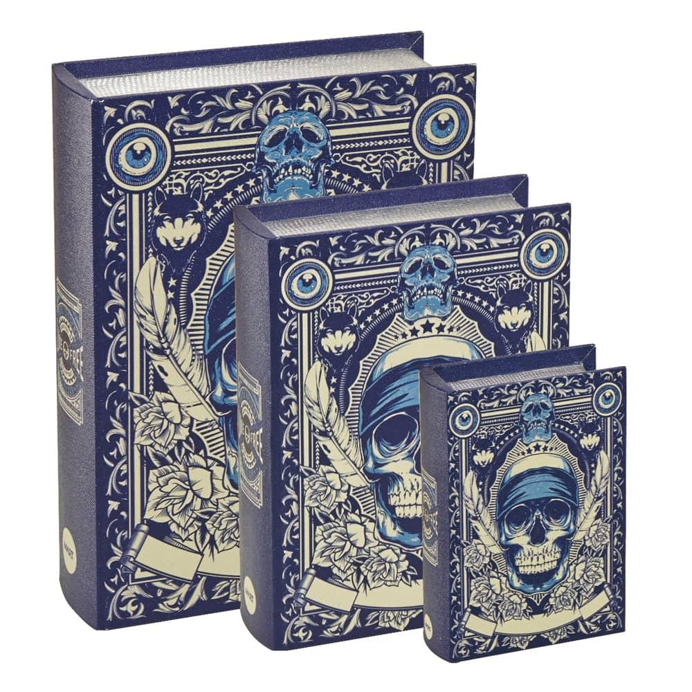 Conjunto Book Boxes - 3 Peças - Caveira Azul e Bege em MDF - 30x21,5 cm