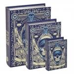 Conjunto Book Boxes - 3 Peças - Caveira Azul e Bege em MDF