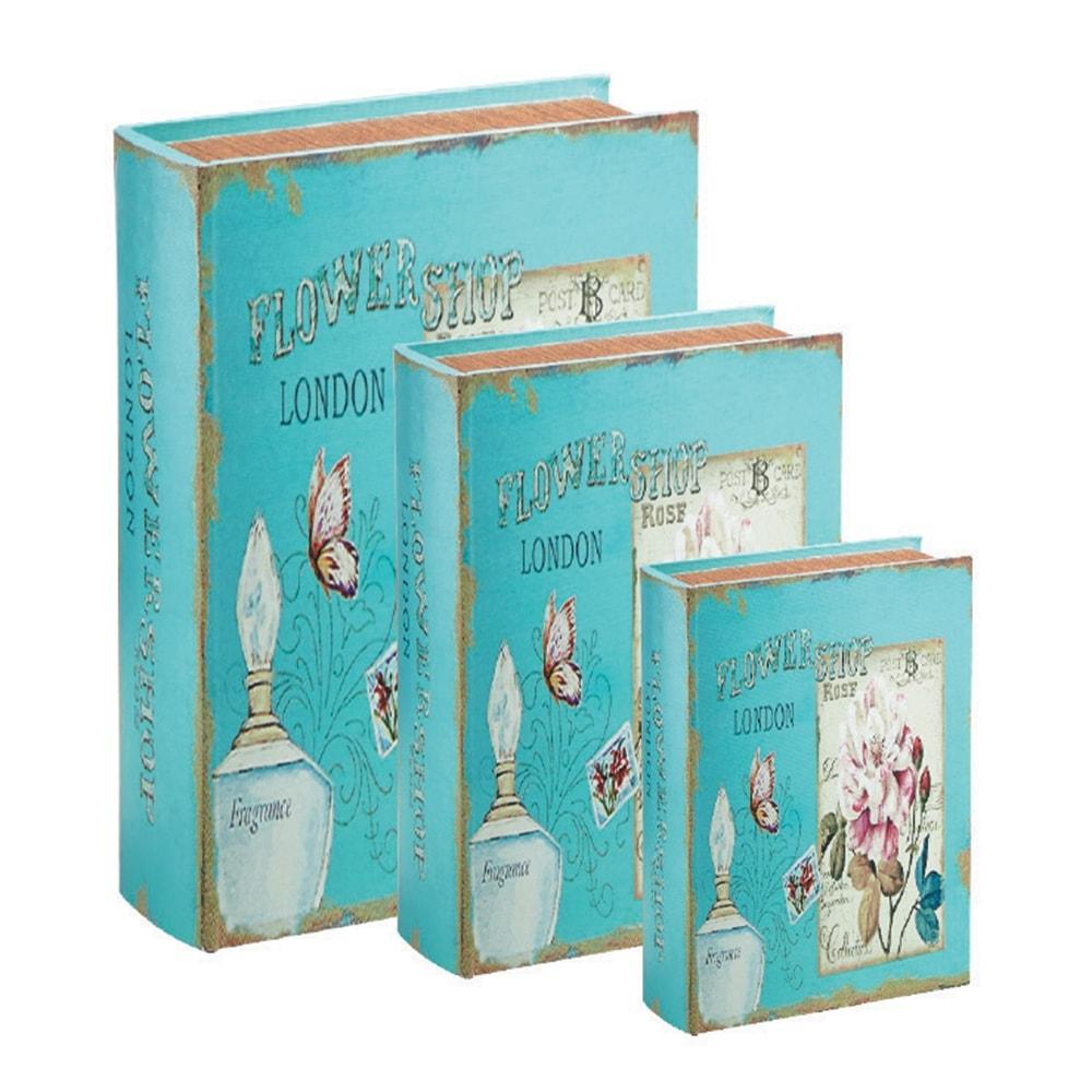 Conjunto Book Boxes - 3 Peças - London Parfum Azul em MDF - 30x21,5 cm