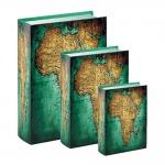 Conjunto Book Boxes - 3 Peças - Mapa Verde e Marrom em MDF - 30x21,5 cm