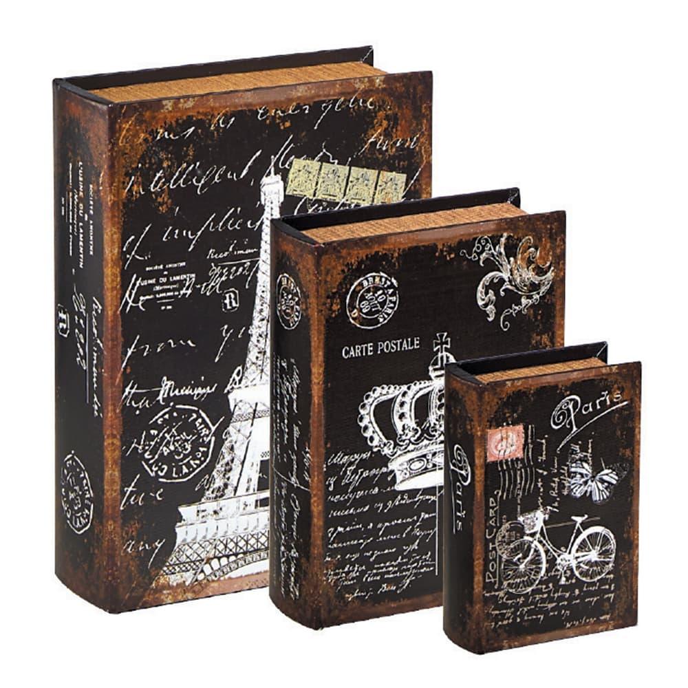 Conjunto Book Boxes - 3 Peças - Paris Preto e Branco em MDF - 30x21,5 cm