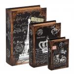 Conjunto Book Boxes - 3 Peças - Paris Preto e Branco em MDF