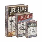 Conjunto de Book Boxes Bicycle - 3 Peças - em MDF - 30x21,5 cm