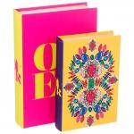 Conjunto Book Boxes Colore - 2 Peças - com Detalhes em Pedras Estrutura em Madeira - 30x20 cm