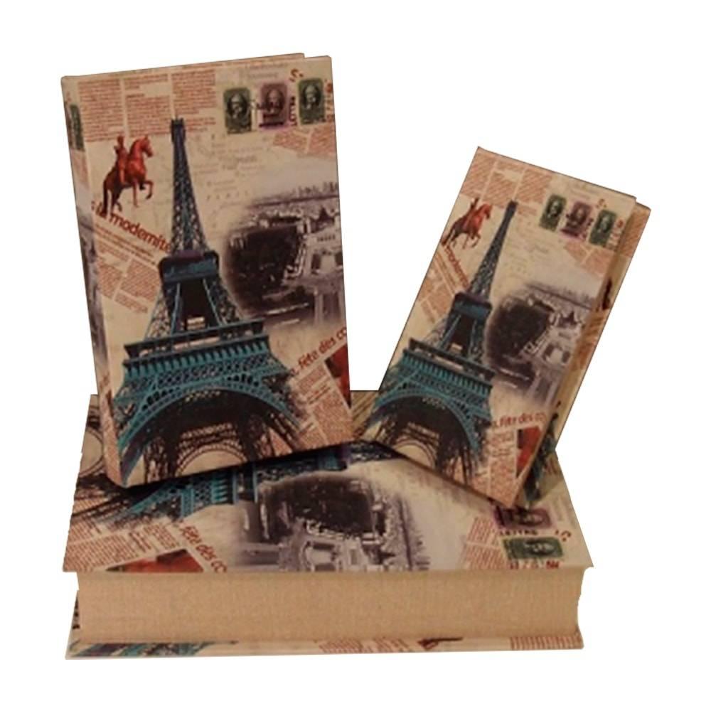 Conjunto de Book Boxes Jornal Paris - 3 Peças - em Madeira - 33x21 cm