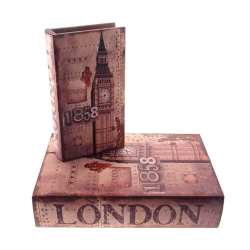 Conjunto Book Boxes London 1858 em MDF - 24x16 cm