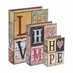 Conjunto de Book Boxes Love Home Hope - 3 Peças - em MDF - 30x21,5 cm