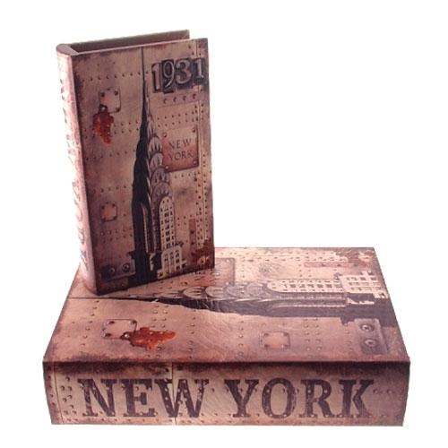 Conjunto Book Boxes New York 1931 em MDF - 24x16 cm