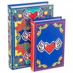 Conjunto Book Boxes para Anéis Amor de Pixel Heart - 2 Peças - Coloridas em Madeira e Tecido - 30x20 cm