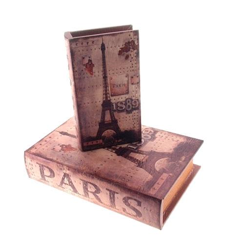 Conjunto Book Boxes Paris 1889 em MDF - 24x16 cm