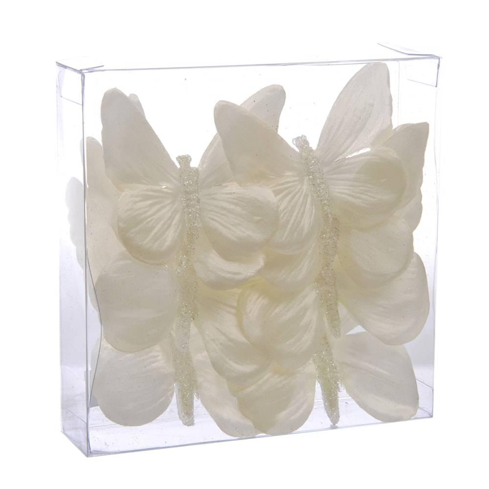 Conjunto de Borboletas Decorativas - 6 Peças - Brancas - 15x7 cm