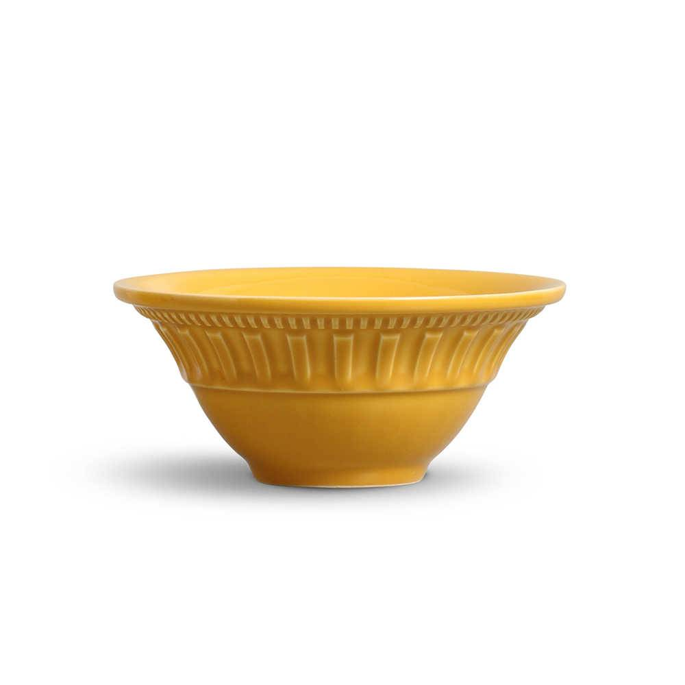 Conjunto de Bowls Parthenon Mostarda - 6 Peças - em Cerâmica - La Tavola - Porto Brasil - 15,5x7 cm