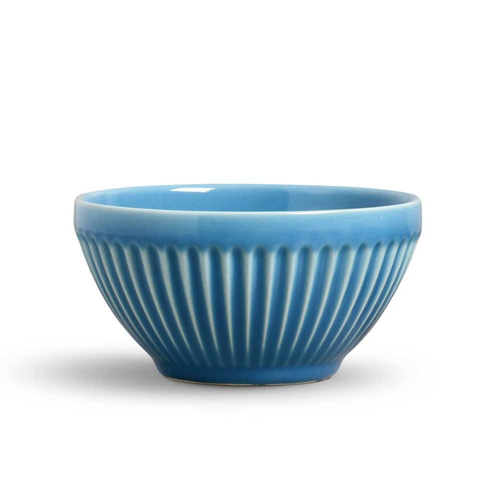 Conjunto de Bowls Plissé Azul Celeste - 6 Peças - em Cerâmica - La Tavola - Porto Brasil - 12,5x6,5 cm