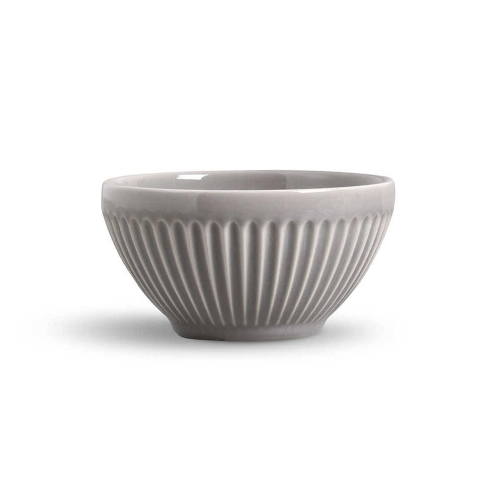 Conjunto de Bowls Plissé Cinza Claro - 6 Peças - em Cerâmica - La Tavola - Porto Brasil - 12,5x6,5 cm