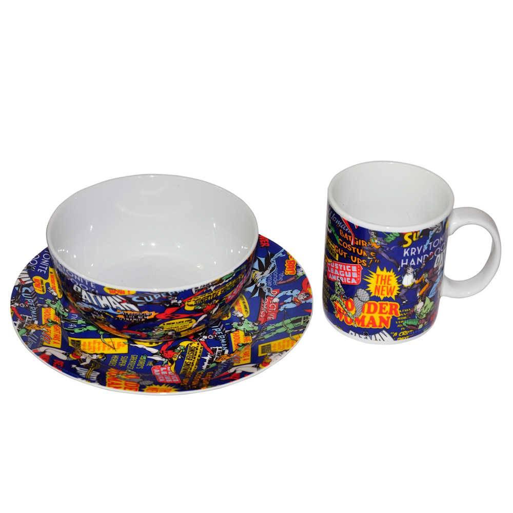 Conjunto Breakfast DC Comics Super Heroes Azul 3 Peças em Porcelana - Urban - 23x20,5 cm