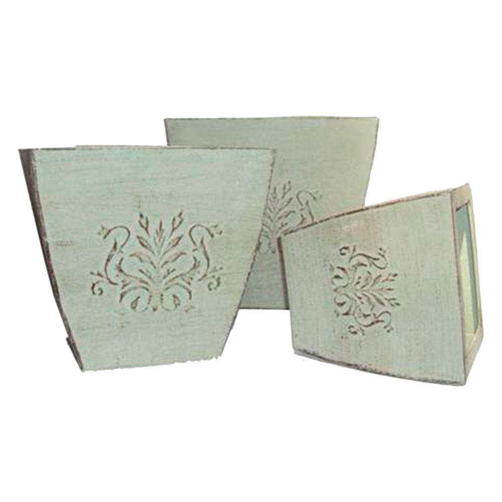 Conjunto de Cachepôs - 3 Peças - Brancos em Metal - 30x30 cm
