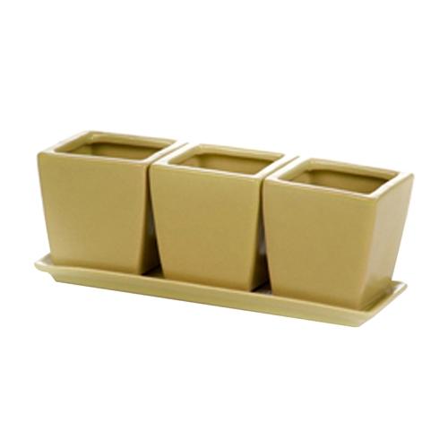 Conjunto Cachepôs - 3 Peças - Verde c/ Prato em Cerâmica - 18x7 cm